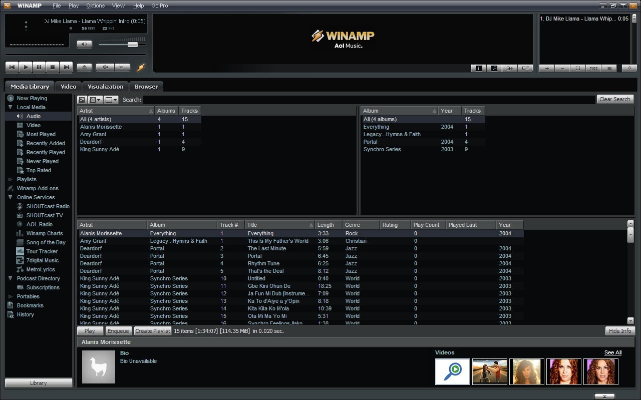winamp-library-display
