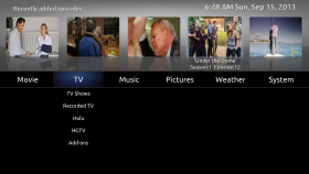 xTV-SAF Home Screen
